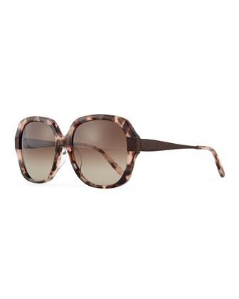 Intrecciato Square Sunglasses, Havana