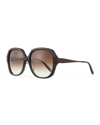 Intrecciato Square Sunglasses, Gray/Brown