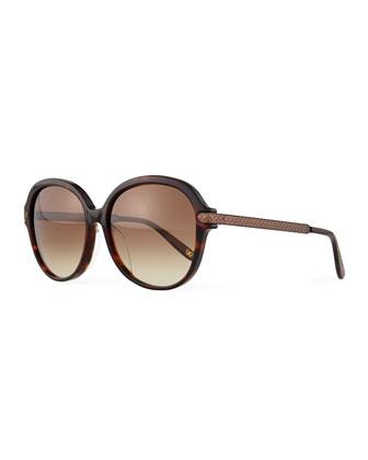 Univeral Fit Rounded Intrecciato Sunglasses, Havana