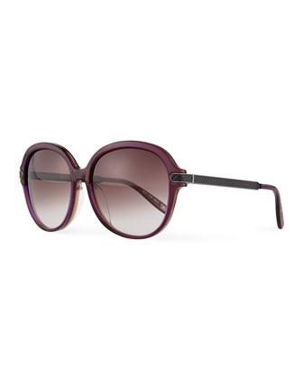Univeral Fit Rounded Intrecciato Sunglasses, Purple/Brown