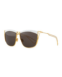 Metal Rectangular Sunglasses, White/Golden