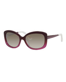 Plastic Rectangle Sunglasses, Ivory