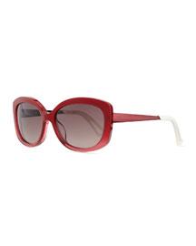 Plastic Rectangle Sunglasses, Red