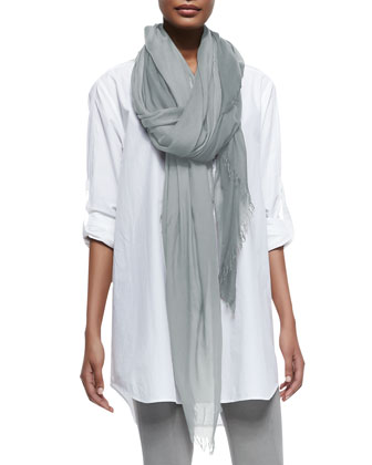 Fringed Woven Silk-Blend Scarf