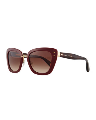 Cat-Eye Stud-Temple Sunglasses, Burgundy