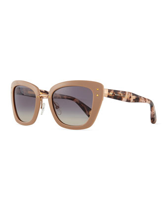 Cat-Eye Stud-Temple Sunglasses, Taupe