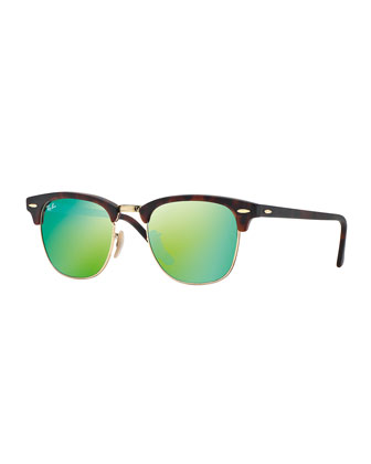 Clubmaster Sunglasses with Green Mirror Lens, Havana