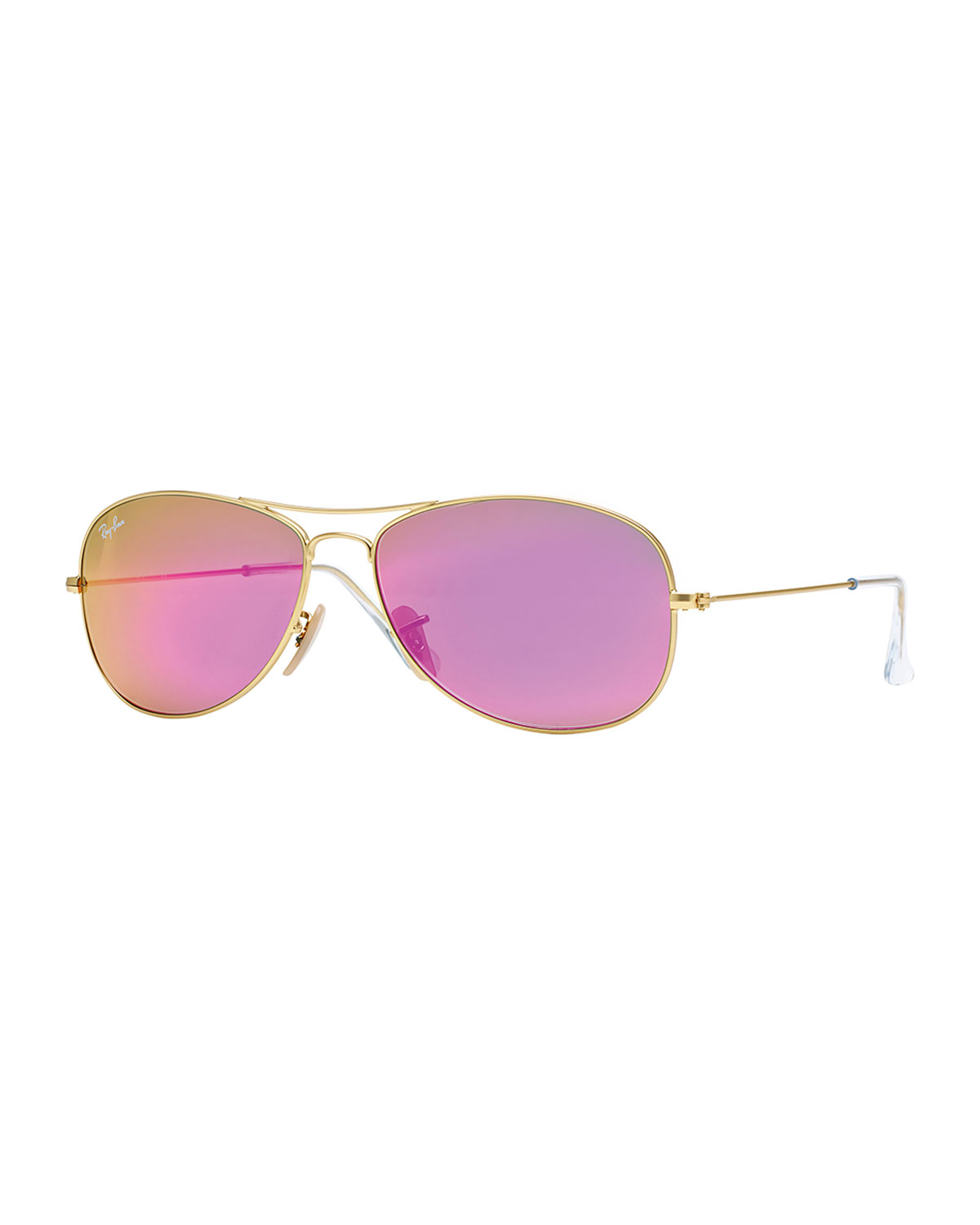 Ray-Ban Aviator Sunglasses with Pink Mirror Lens, Golden