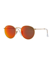 Polarized Round Metal-Frame Sunglasses with Orange Mirror Lens