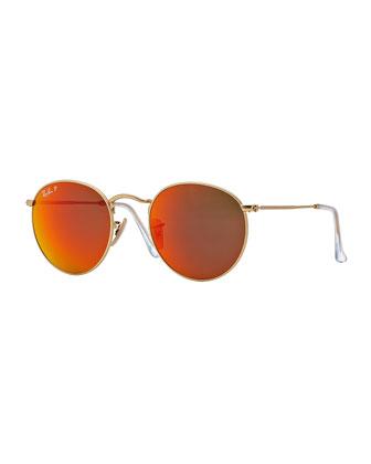 Polarized Round Metal-Frame Sunglasses with Orange Mirror Lens