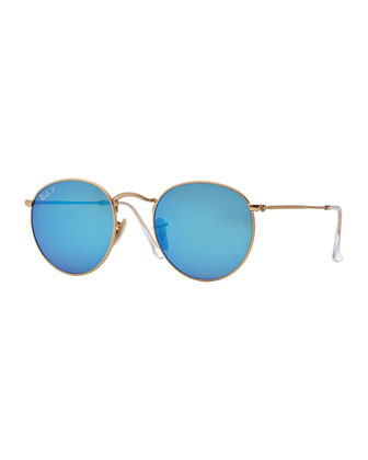 Round Metal-Frame Sunglasses with Blue Mirror Lens