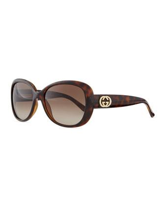 Crystal GG Logo Sunglasses, Havana
