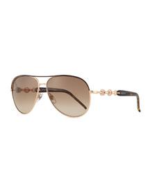 Stone Aviator Sunglasses, Havana/Golden