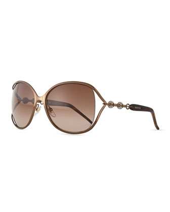 Large Butterfly Sunglasses with Logo Arm, Bronze