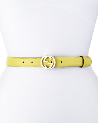 Interlocking G-Buckle Belt, Mimosa Flower