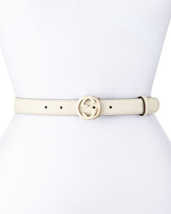 Interlocking G-Buckle Belt, White