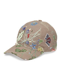Flora-Print Baseball Hat, Khaki