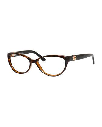 Cat-Eye Fashion Glasses with Web and Interlocking G, Havana