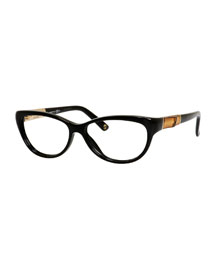Cat-Eye Fashion Glasses with Bamboo, Black