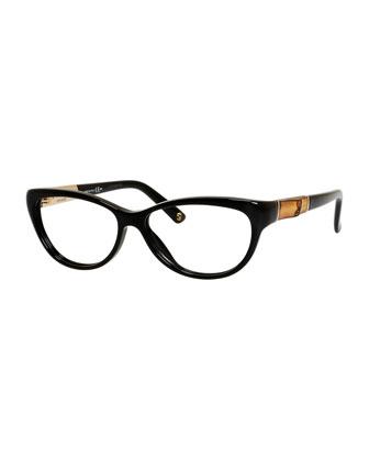 Cat-Eye Fashion Glasses with Bamboo, Black