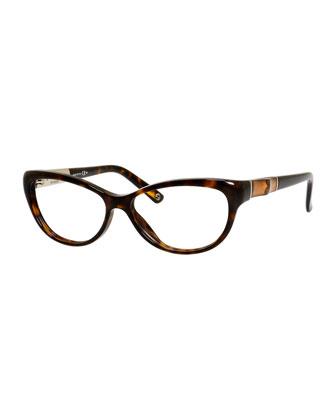Cat-Eye Fashion Glasses with Bamboo, Havana