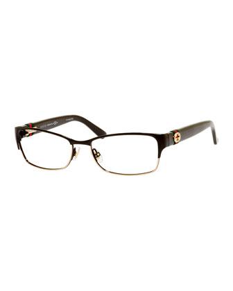 Half-Rim Fashion Glasses with Web and Interlocking G, Brown