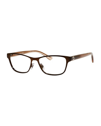 Ombre Rectangle Fashion Glasses, Brown