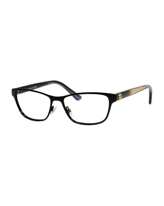 Ombre Rectangle Fashion Glasses, Black