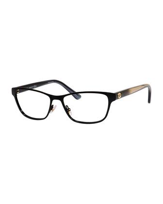 Ombre Rectangle Fashion Glasses, Black