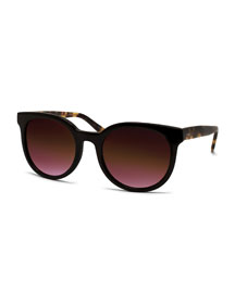 Baez Oval Sunglasses, Black