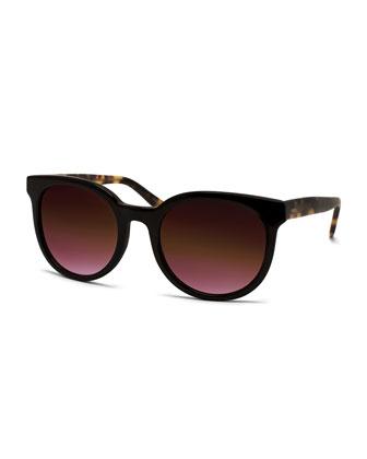 Baez Oval Sunglasses, Black