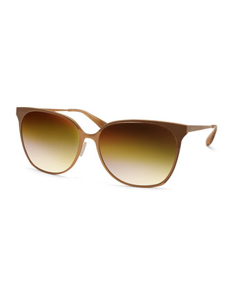 Edie Butterfly Sunglasses with Mirrored Lenses, Gold