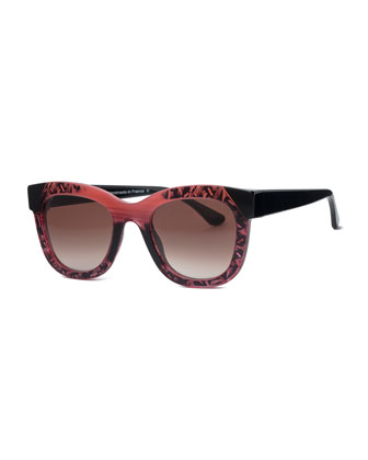 Limited Edition Chromaty Square Sunglasses, Wine Pattern