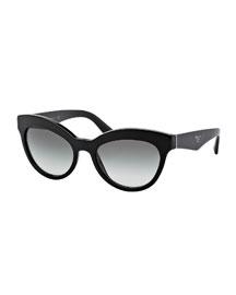Acetate Cat-Eye Sunglasses, Black
