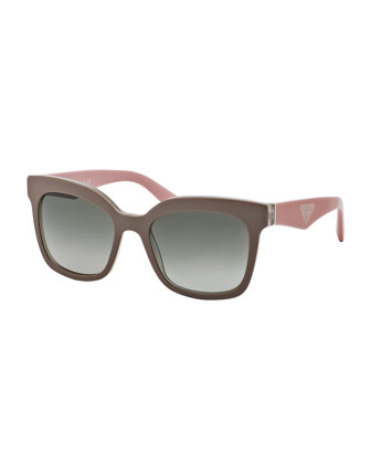 Square Sunglasses, Beige/Pink