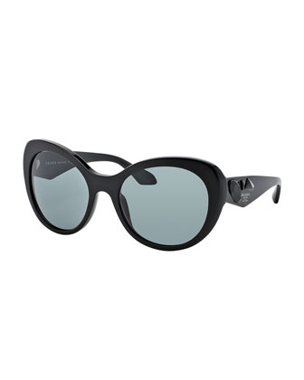 Rounded Cat-Eye Jeweled Temple Sunglasses, Black