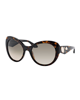 Rounded Cat-Eye Jeweled Temple Sunglasses, Havana