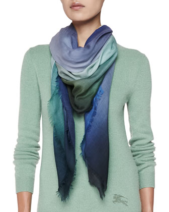 Cashmere Lightweight Ombre Scarf, Blue