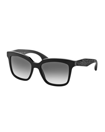 Rectangle Sunglasses with Crystal Arms, Black