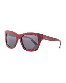 Camo-Crystal Sunglasses, Red