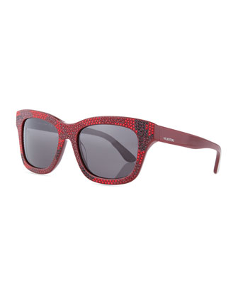 Camo-Crystal Sunglasses, Red