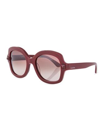 Tonal Stud Square Sunglasses, Scarlet