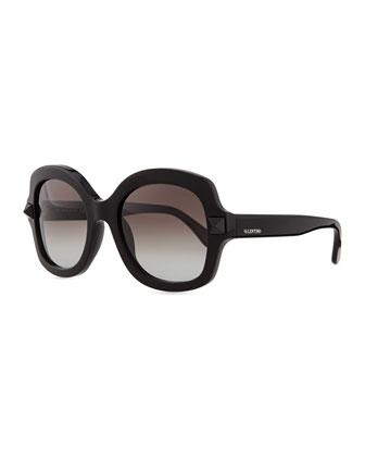 Tonal Stud Square Sunglasses, Black