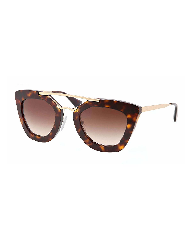Prada Cat-Eye Double-Bridge Sunglasses, Havana