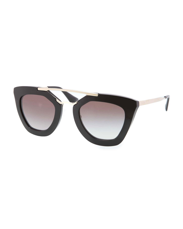 Prada Cat-Eye Double-Bridge Sunglasses, Black