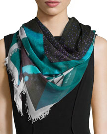 Framed Sky-Print Scarf, Green/Turquoise