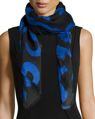 Text-Print Silk-Blend Scarf, Black/Blue