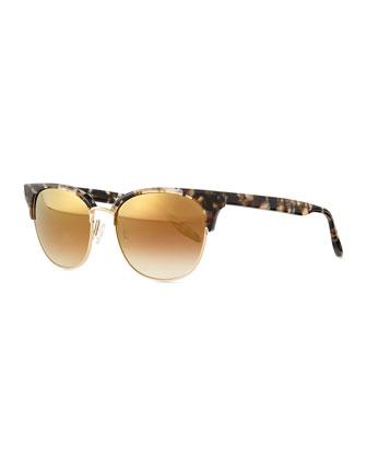 Camden Mirror Semi-Rimless Square Sunglasses, Orion/Golden