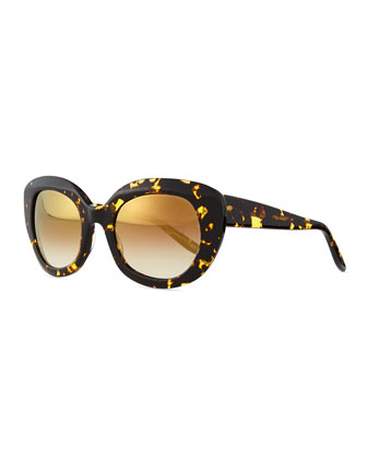 Loulou Mirror Butterfly Sunglasses, Tortoise
