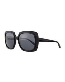 Universal Fit Renaissance Square Zyl Sunglasses, Black